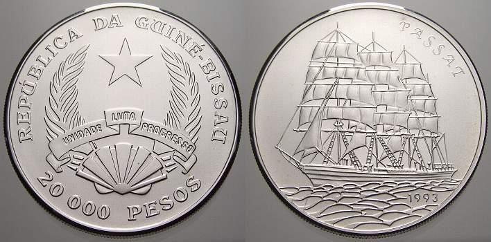 20000 Pesos (100 Ex.) 1993 Guinea (Bissau) Republik seit 1977. Sehr selten, stempelglanz