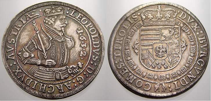Taler 1632 Haus Habsburg Erzherzog Leopold V. 1619-1632. Fast vorzüglich