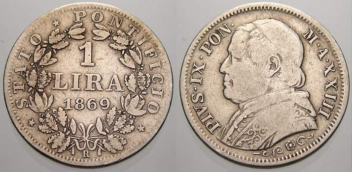 1 Lira 1869 Italien-Kirchenstaat Pius IX. 1846-1878. Sehr schön