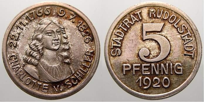 5 Pfennig Silberabschlag! 1920 Rudolstadt (Schwarzburg-Rudolstadt) Stadt 1914-1925. Sehr selten. Fast stempelglanz mit Patina!