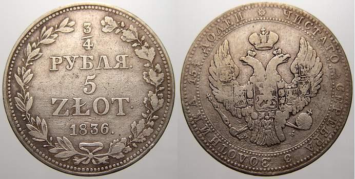 3/4 Rubel (5 Zlotych) 1836 MW Polen Nikolaus I. von Rußland 1825-1855. Sehr schön