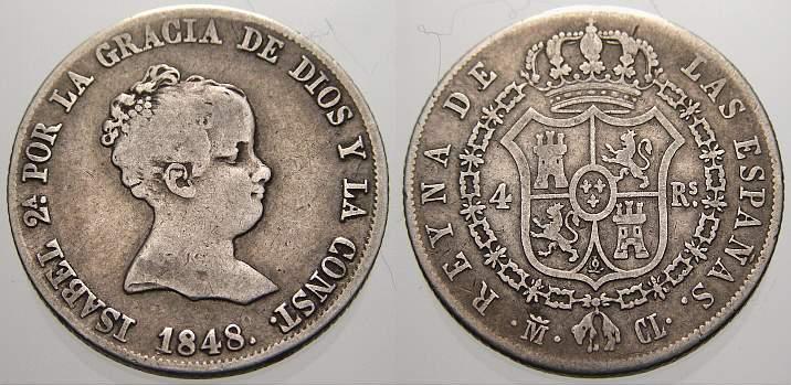 4 Reales 1848 M Spanien Isabella II. 1833-1863. Sehr schön