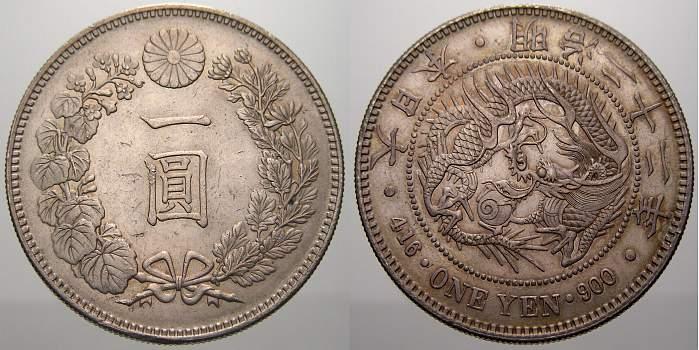 Yen 1889 YR Japan Mutsuhito 1867-1912. Vorzüglich