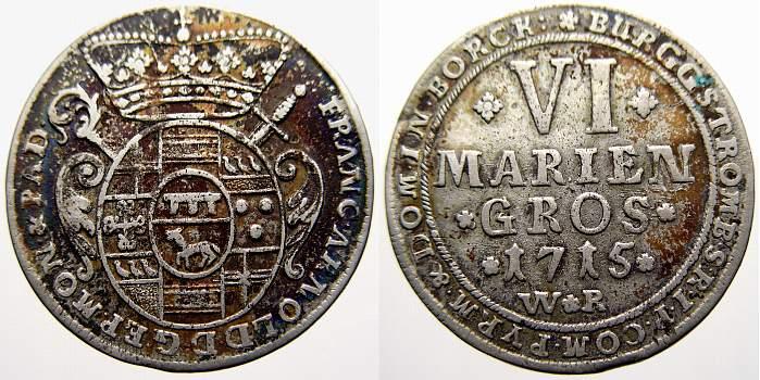6 Mariengroschen 1715 Münster, Bistum Franz Arnold von Metternich 1706-1718. Sehr schön-vorzüglich mit schöner Patina