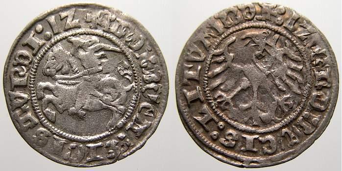 Halbgroschen (Zwitterfehlprägung) 1 1512 Polen-Litauen Sigismund I. 1506-1544 (1548). Sehr schön-vorzüglich