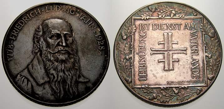 Silbermedaille 1928 Personenmedaillen Jahn, Friedrich Ludwig *1778 Lanz, +1852 Freyburg / Unstrut, Begründer der Turnbewegung. Polierte Platte, winz. Kratzer
