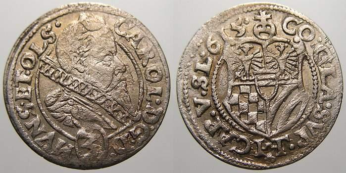 3 Kreuzer 1615 Schlesien-Münsterberg-Öls Karl II. 1587-1617. Min. Schrötlingsfehler. Sehr schön-vorzüglich