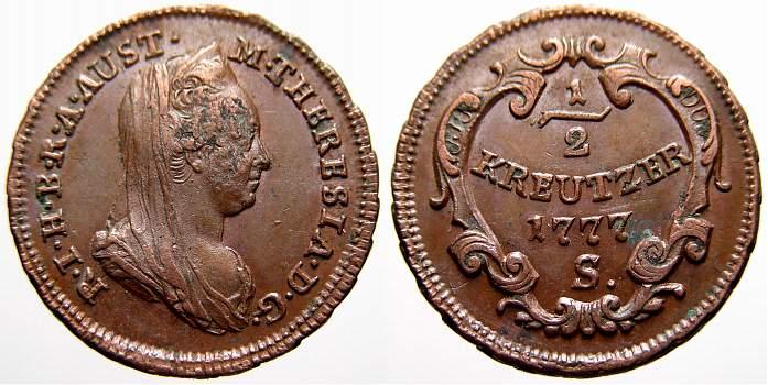 Cu 1/2 Kreuzer 1777 S Haus Habsburg Maria Theresia 1740-1780. Selten. Kl. Schrötlingsfehler im Avers. Vorzüglich mit Prägeglanz!