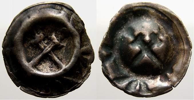 Hohlpfennig 1360-1371 Naumburg, bischöfliche Münzstätte Gerhard I. von Schwarzburg 1360-1371. Sehr selten. Sehr schön