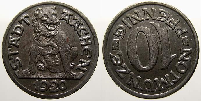 10 Pfennig 1920 Aachen (Rheinprovinz) Vorzüglich