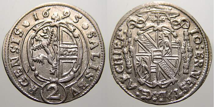 2 Kreuzer 1695 Salzburg, Erzbistum Johann Ernst von Thun und Hohenstein 1687-1709. Fast stempelglanz
