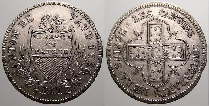 5 Batzen 1826 Schweiz-Waadt, Kanton Sehr schön+