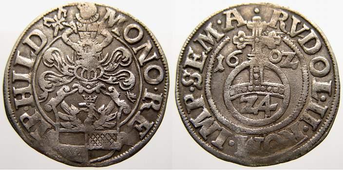 1/24 Taler (Reichsgroschen) 1602 Hildesheim, Stadt Min. gewellt. Sehr schön+