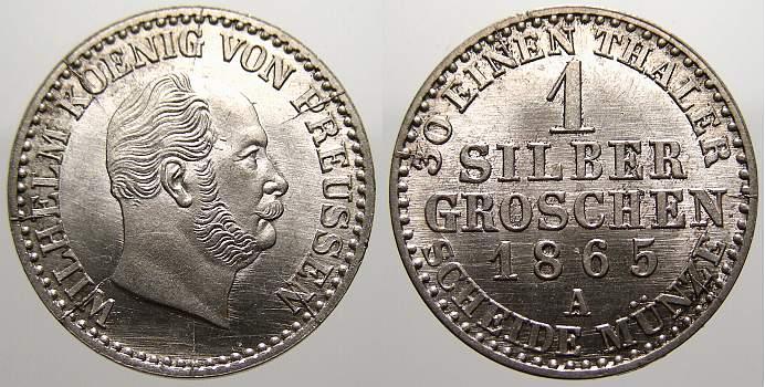 1 Silbergroschen 1865 A Brandenburg-Preußen Wilhelm I. 1861-1888. Stempelglanz