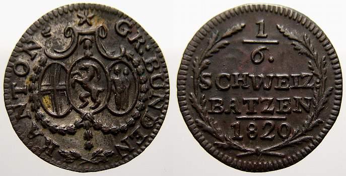 1/6 Batzen 1820 Schweiz-Graubünden, Kanton Vorzüglich