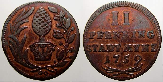 Cu 2 Pfennig 1759 Augsburg, Stadt Sehr schön