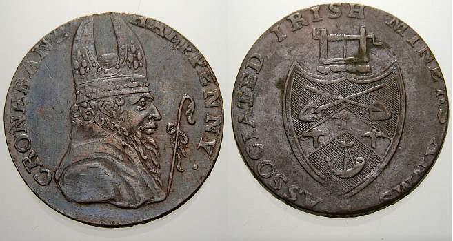 Half Penny Irland Tokens 18. Jahrhundert. Sehr schön+