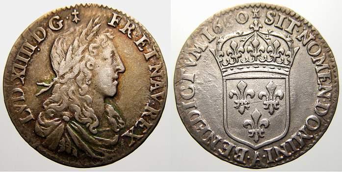 1/12 Ecu 1660 A Frankreich Ludwig XIV. 1643-1715. Sehr schön-vorzüglich