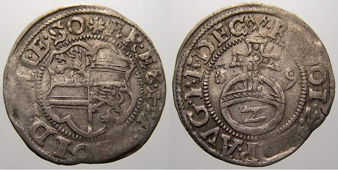 2 Kreuzer (Halbbatzen) 1589 Solms-Lich Ernst I., Eberhard und Hermann Adolf 1588-1590. Min. Prägeschwäche. Sehr schön mit Prägeglanz!