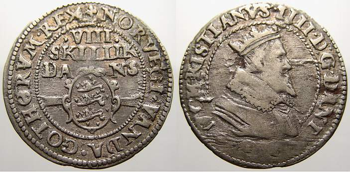 8 Skilling 1606 Dänemark Christian IV. 1588-1648. Kl. Stempelfehler am Datum. Sehr schön