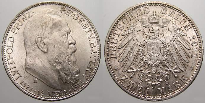 2 Mark 1911 D Bayern Otto 1886-1913. Fast stempelglanz-stempelglanz