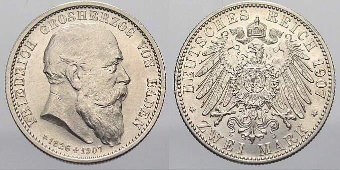 2 Mark 1907 Baden Friedrich I. 1856-1907. Vorzüglich-vorzüglich+
