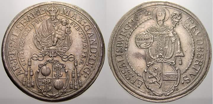 Taler 1672 Salzburg, Erzbistum Max Gandolph von Küenburg 1668-1687. Vorzüglich