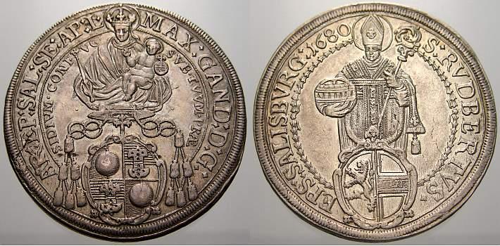 Taler 1680 Salzburg, Erzbistum Max Gandolph von Küenburg 1668-1687. Winz. Schrötlingsfehler, vorzüglich