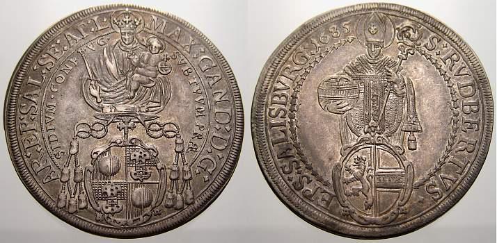 Taler 1685 Salzburg, Erzbistum Max Gandolph von Küenburg 1668-1687. Vorzüglich