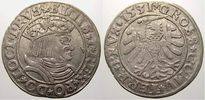 Groschen 1531 Preußen (Westpreußen) Sigismund I. 1506-1548. Winz. Prägeschwäche. Sehr schön+ mit Prägeglanz!
