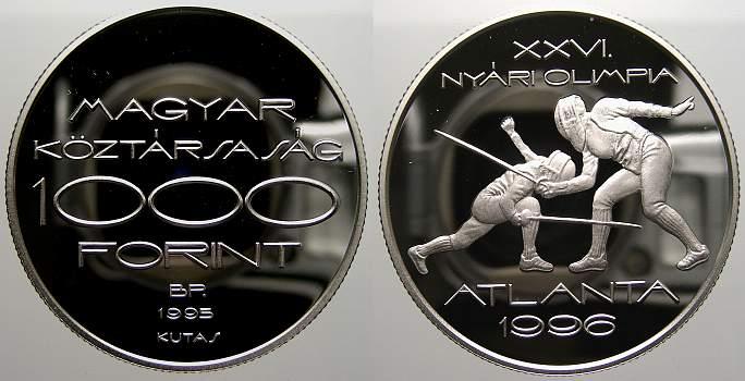 1000 Forint 1995 Ungarn Republik seit 1989. Polierte Platte