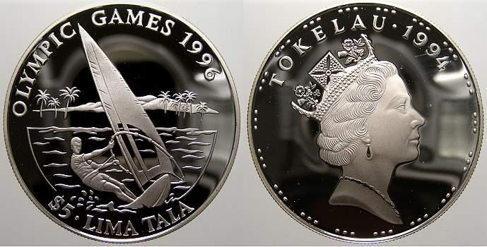 5 Tala 1994 Tokelau Elizabeth II. seit 1952. Polierte Platte, min. berieben.
