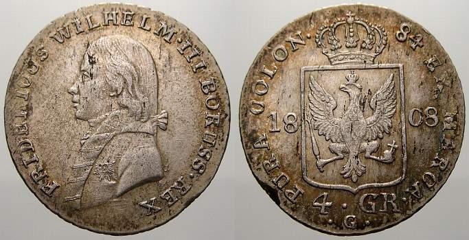 4 Groschen (1/6 Taler) 1808 G Brandenburg-Preußen Friedrich Wilhelm III. 1797-1840. Selten. Kl. Schrötlingsfehler, sehr schön-vorzüglich mit Prägeglanz!
