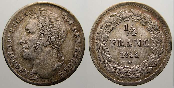 1/4 Franc 1844 Belgien, Königreich Leopold I. 1831-1865. Sehr schön-vorzüglich