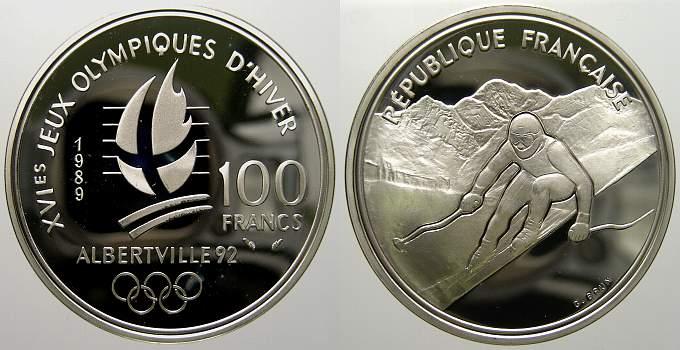 100 Francs (Albertville) 1989 Frankreich Fünfte Republik seit 1958. Polierte Platte