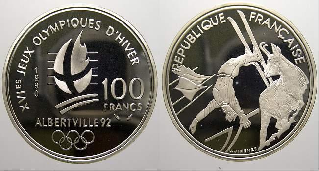 100 Francs (Albertville) 1990 Frankreich Fünfte Republik seit 1958. Polierte Platte