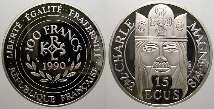 100 Francs (15 Ecus) 1990 Frankreich Fünfte Republik seit 1958. Polierte Platte