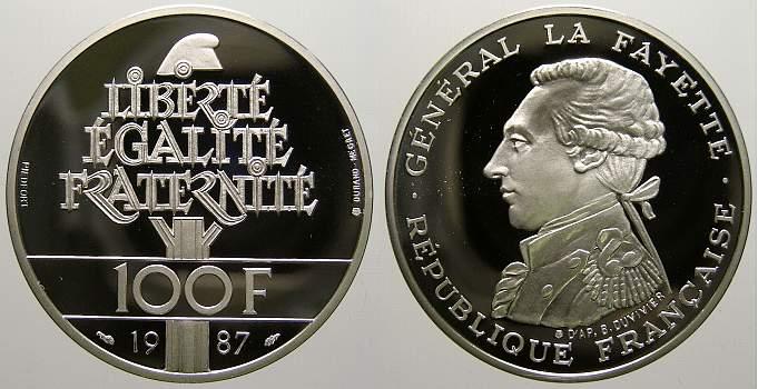 100 Francs (Piedfort, La Fayette) 1987 Frankreich Fünfte Republik seit 1958. Polierte Platte