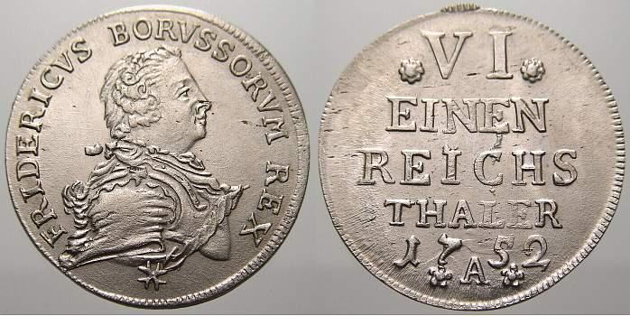 1/6 Taler 1752 A Brandenburg-Preußen Friedrich II. 1740-1786. Selten in dieser Erhaltung. Min. Prägeschwäche. Prägefrisch!