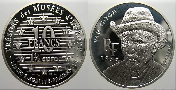 10 Francs (1 1/2 Euro) 1996 Frankreich Fünfte Republik seit 1958. Polierte Platte, leicht angelaufen