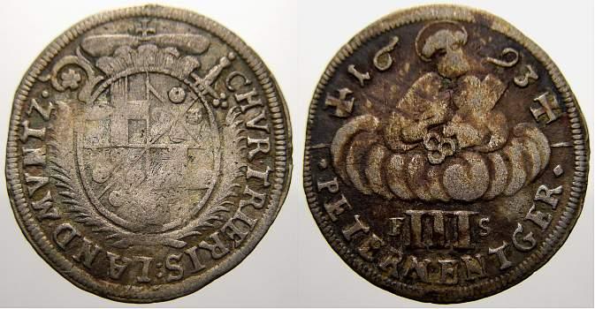 Dreipetermännchen 1 1693 FS Trier, Erzbistum Johann Hugo von Orsbeck 1676-1711. Sehr schön