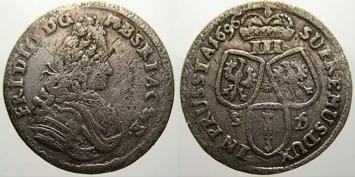 3 Gröscher 1 1696 SD Brandenburg-Preußen Friedrich III. 1688-1701. Sehr selten. Kl. Schrötlingsfehler. Sehr schön