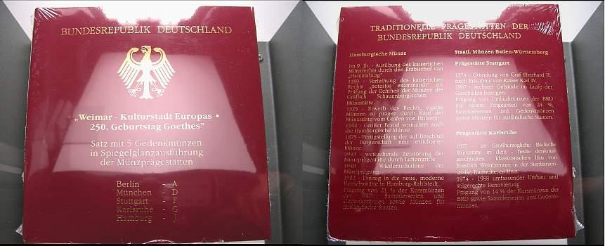 10 DM 1999 Bundesrepublik Deutschland Polierte Platte