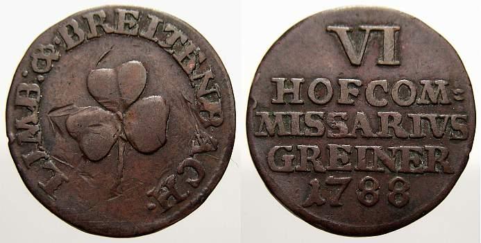 Cu Marke zu 6 Heller 1788 Limbach und Breitenbach (Sachsen) Porzellanfabrik Gotthelf Greiner 1700-1800. Sehr schön