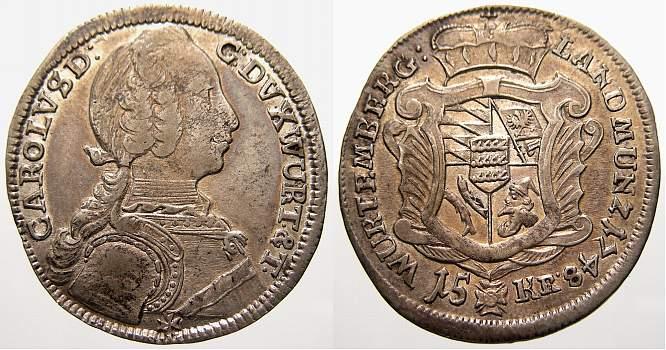 15 Kreuzer 1748 Württemberg Karl Eugen 1744-1793. Selten. Sehr schön-vorzüglich
