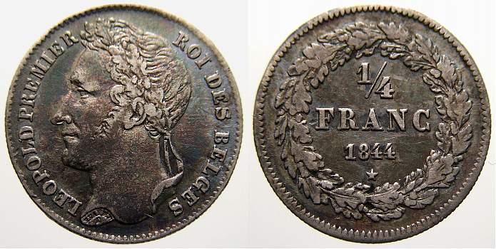 1/4 Franc 1844 Belgien, Königreich Leopold I. 1831-1865. Vorzüglich