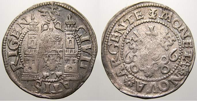 Ferding 1566 Riga, Stadt Freie Stadt 1562-1581. Winz. Prägeschwäche. Sehr schön+