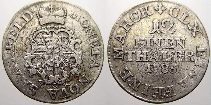 1/12 Taler 1785 Sachsen-Coburg-Saalfeld Ernst Friedrich 1764-1800. Sehr schön+
