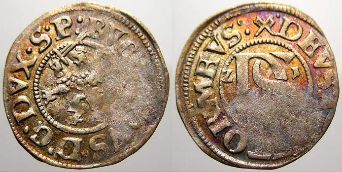 Doppelschilling 1621 Pommern-Stettin Bogislaw XIV. 1620-1625. Kl. Prägeschwäche, sehr schön mit Prägeglanz und schöner Patina