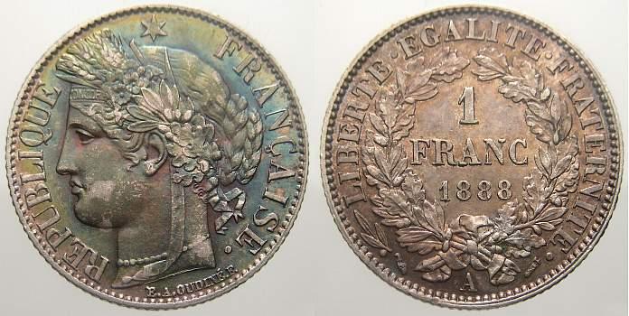 Franc 1888 A Frankreich Dritte Republik 1870-1940. Fast stempelglanz